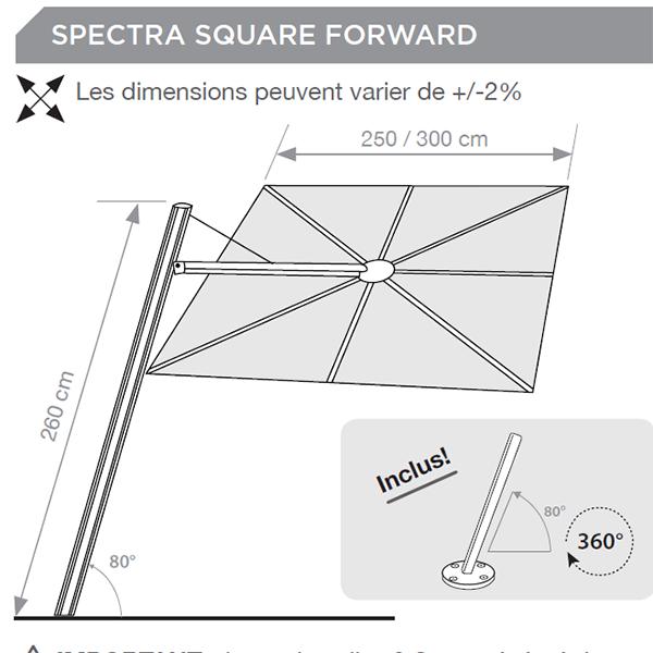 Parasol spectra carr m t inclin jardinchic - Piece detachee parasol deporte ...