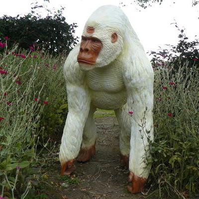 Statue Gorille Debout Laqué Blanc Tex Artes Jardinchic