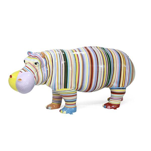 Statue Hippopotame Arty Rayé TexArtes Jardinchic