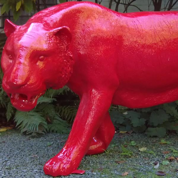 Statue Tigre Rouge Laqué Tex Artes Jardinchic