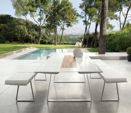 table de repas extrados 240 plateau corian blanc jardinchic. Black Bedroom Furniture Sets. Home Design Ideas