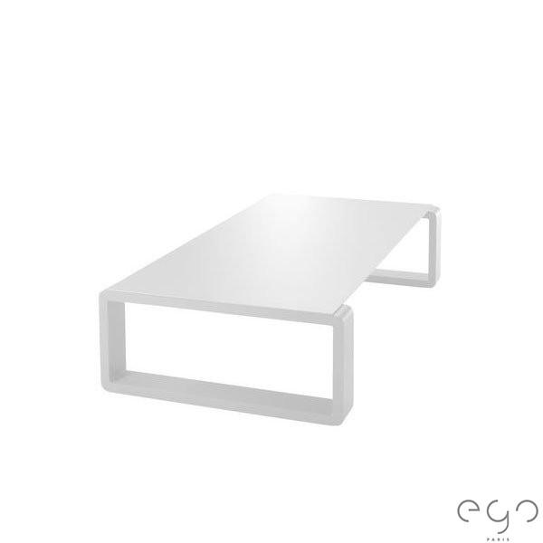 Table Basse Kama Structure Aluminium Laqué Argent Plateau Aluminium Givré Argent EGO Paris JardinChic