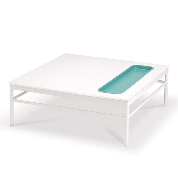 Table Basse Rivage 85x85cm Blanc Niche Lagon Vlaemynck Jardinchic