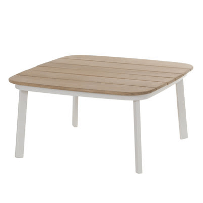 Table Basse Plateau Teck Shine Blanc Cassé Emu JardinChic