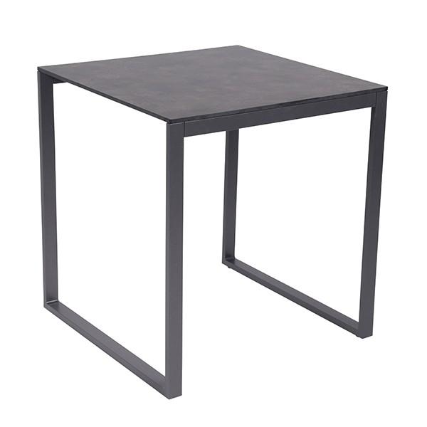 Table de Repas Perspective 70x70cm Anthracite HPL Effet béton foncé Vlaemynck Jardinchic