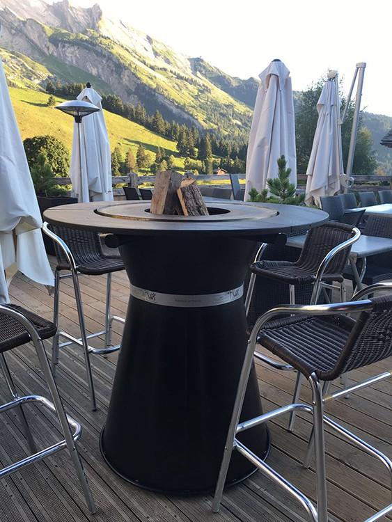 Table haute bras ro plancha fusion bois jardinchic for Mobilier table haute
