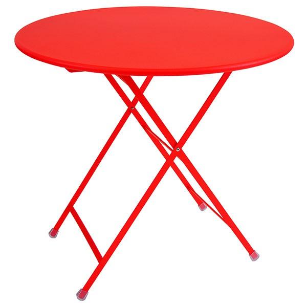 table ronde pliable arc en ciel rouge ecarlate emu jardinchic - Table Ronde Jardin