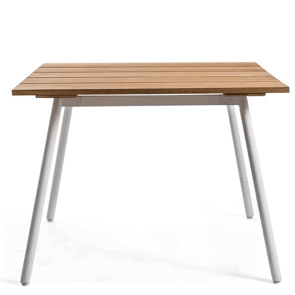Table Repas Reef 100x100cm Plateau Teck Piètement Aluminium Blanc Oasiq Jardinchic