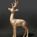 Statue Cerf Laqué Métallisé Or Petit Modèle