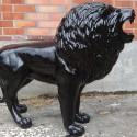 Statue Lion Noir Laqué