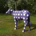 Statue Veau Violet à pois blancs