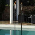 Torche Pisa En Acier Inox Et Bois Noir