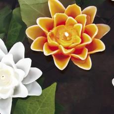 Bougie Fleur Lys Orange Ø13cm et Bougie Fleur Lys Blanc Ø13cm Decoragloba Jardinchic