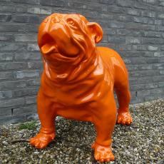 Statue Bulldog Anglais Laqué Orange Texartes Jardinchic