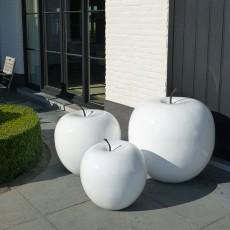 Sculptures pommes polyrésine 3 dimensions Blanc brillant Terraliet Jardinchic