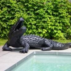 Statue Crocodile Noir Laqué TexArtes JardinChic