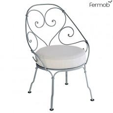 Fauteuil Cabriolet 1900 - Coussin Blanc Grisé - Structure Gris Orage Fermob Jardinchic
