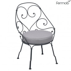 Fauteuil Cabriolet 1900 - Coussin Gris Flanelle Structure Gris Carbone Fermob Jardinchic