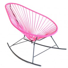 Rocking Chair Celestun Fuchsia Piètement Noir Boqa Jardinchic