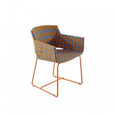 Fauteuil de Repas Kente Structure Orange - Tressage Multicolore Orange Varaschin Jardinchic