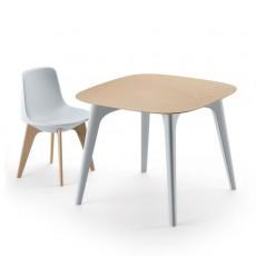 Table de Repas Planet Carrée Plateau Bois Naturel Piétement Blanc avec Chaise Planet Pieds Bois Clair (vendue séparément) Plust Jardinchic