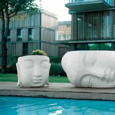 Ensemble Table Basse Pacifico et Pouf Beato Blanc 21ST Living Art Jardinchic