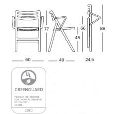 Dessin Technique Chaise Pliante Air Chair avec Accoudoirs Magis JardinChic