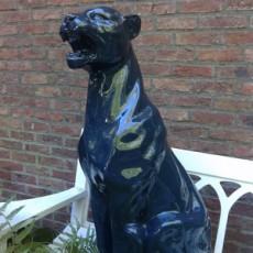 Statue Panthère Assise Bleu Gris Laqué Tex Artes Jardinchic
