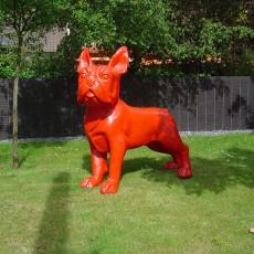 Statue Bulldog Français XXL Rouge Laqué TexArtes JardinChic