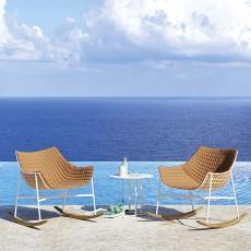 Rocking Chair Summer Set Structure Blanc - Pieds à bascule en bois Iroko Varaschin Jardinchic (coussin intégral non inclus)