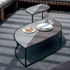 Table Basse Leaf Plateau Grès Structure Smoke et Table d'appoint Leaf Plateau Grès Structure Smoke Roda Jardinchic