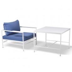 Table Mi-Hauteur Rivage 85x85cm Blanc avec Fauteuil Rivage Blanc Vlaemynck Jardinchic