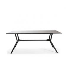 Table Repas Reef 180x100cm Piètement et Crossbar aluminium gris anthracite et Plateau HPL Noir Oasiq Jardinchic