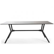 Table Repas Reef 240x100cm  Piètement et Crossbar aluminium gris anthracite et Plateau HPL Noir Oasiq Jardinchic