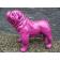 Statue Bulldog Anglais Laqué Fuchsia Texartes Jardinchic
