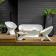 Canapé / sofa UBLO Blanc avec Fauteuils Ublo Blancs et Table Basse Pouf Ublo Blanc Qui est Paul? JardinChic